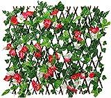 HXSD Künstlicher Blumenzaun, erweiterbarer Zaun Datenschutz, künstlicher Efeu-Netzzaunzaun, geeignet für Garten, Markt- und Parkdekoration,Rot,M