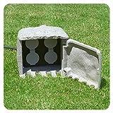 Gartensteckdose Stein mit 4 Schuko Steckdosen Außensteckdose 4-fach Granit Steinoptik für Außen IP44-5m Kabel Zuleitung
