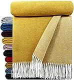 STTS International Wohndecke Wolldecke Decke sehr weiches Plaid Kuscheldecke 140 x 200 cm Wolle Milano/Verona Senf/Gelb-Weiß (Double face)