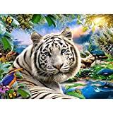 ZHLMMZD 1000 Stück Holzpuzzle Erwachsenen Kinderspielzeug Puzzlespiel Moderne Dekoration kreative Geschenk-weißer Tiger