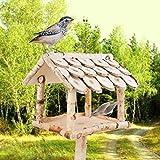 YourCasa Vogelhaus mit Ständer Birke Natur Holz / Futterhaus für Vögel mit Ständer / 132 cm Groß + Wetterfest/Vogelhäuschen mit Schindel Dach/Vogel Futterstation Futtersp
