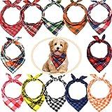 12 Stück Hundehalstücher – Dreieckstuch für Hunde, waschbar, wendbar, bedruckt, Lätzchen Hund Kopftuch Set, geeignet für kleine oder mittelgroße Katzen und Hunde Haustiere (Lattice Graphic)