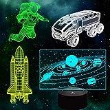 Universum Geschenke, 3D Astronaut Nachtlicht für Kinder (4 Muster) mit Fernbedienung 16 Farben ändern dimmbare Funktion, Home Decor table beside light (Univers set)