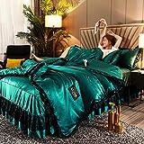Bedding-LZ bettwäsche 200x200cm weiß,Bett Rock Typ Bett Seide Spitze gewaschen EIS Seide Bettbezug vierteilig Frühling und Sommer rutschfest-Fliege_2,0 m Bett (4 Stück)