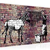 Bilder Banksy Washing Zebra Wandbild 60 x 40 cm Vlies - Leinwand Bild XXL Format Wandbilder Wohnung Deko Kunstdrucke - MADE IN GERMANY - Fertig zum Aufhängen 012915b