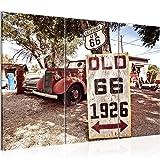 Runa Art Auto Route 66 Bild Wandbilder Wohnzimmer XXL Bunt Rot Oldtimer 120 x 80 cm 3 Teilig Wanddeko 609831a