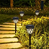 Solarleuchten Garten, Senders Solarlampen für Außen 6 Stück Solar Gartenleuchte mit IP44 Wasserdicht Solar Wegeleuchte Warmweiß Dekorative Licht für Terrasse Garten B