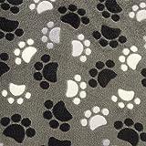 0,5m Micro-Fleece Pfoten anthrazit Meterware 100% Polyester