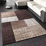 Paco Home Designer Teppich Modern Kariert Kurzflor Teppich Design Meliert In Braun Creme, Grösse:140x200 cm