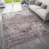 VIMODA Moderner Vintage Look Teppich Orientalisch Meliert, Farbe:Grau, Maße:120x170