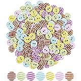 Changrongsheng 200 Stück Knöpfe für Kinder, Bunte Knöpfe Rund Knöpfe, Deko Knöpfe zum Nähen, Holz Knopf Puppenknöpfe mit 2 Löchern zum Basteln, Kinder DIY Basteln, Painting, Geschenk Deko, 15