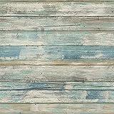 Hode Holz Folie Selbstklebende Entfernbare Tapeten Wand und Möbel Dekoration Renovierung Alter Möbel Schrank Blauen Holzoptik Folie 30X300cm