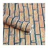 caixy Möbelfolie Selbstklebend 3D Dreidimensionale Imitation Ziegelmuster Tapete Wasserdicht Und Umweltfreundlich Umweltschutz Aufkleber,Horizontaler Ziegelstein,45CM*10M,PVC