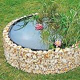 bellissa Gabionen Hochteich - 95577 - Teich für den Garten, inkl. Teichfolie und Trennvlies - Durchmesser 146/126 cm, Höhe 40