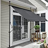 pro.tec Klemmmarkise Grau 300 x 120 x 200-300cm Markise Balkonmarkise Sonnenschutz ohne B