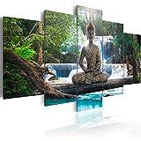 murando - Bilder 200x100 cm Vlies Leinwandbild 5 TLG Kunstdruck modern Wandbilder XXL Wanddekoration Design Wand Bild - Buddha Landschaft Natur Wasserfall Baum Wald c-A-0021-b-n