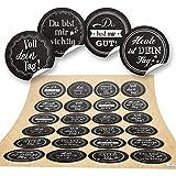 48 runde Aufkleber SPRÜCHE Motivation Glück Zitat schwarz weiß Lieblingsmensch Geschenkaufkleber selbsteklebende Sticker Etiketten basteln verpacken Geschenke