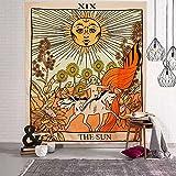 Tarot Tapisserie, Sonne Tapestry Wandbehang, 1.5m*1.3m Wandteppich, Mysterious Medieval Europe Divination, Wohnzimmer Dekor, Tapisserie für Schlafzimmer