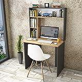 Yurupa Schreibtisch Computertisch Arbeitstisch Bürotisch Eiche-Dunkel Grau Anthracite BR2-AA