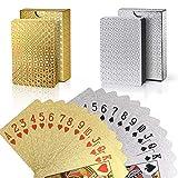 Joyoldelf 2 Stück Spielkarten, Wasserfeste Pokerkarten mit Geschenkbox,Familienparty Spiel Playing Cards (Goldfolie & Silberfolie)