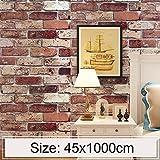 Für Wohnkultur. DJM Wolke Ziegel Kreative 3D Steinziegel Dekoration Tapete Aufkleber Schlafzimmer Wohnzimmer Wand wasserdichte Tapete Rolle, Größe: 45 x 1000 cm