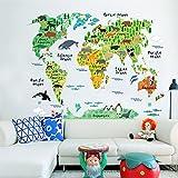ufengke Cartoon Weltkarte Nett Land- und Wassertiere Wandsticker,Kinderzimmer Babyzimmer Entfernbare Wandtattoos Wandbilder