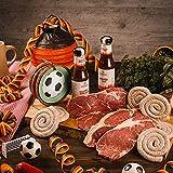 WURSTBARON® Fußball Schlemmerpaket - Grillpaket aus Roastbeef, Bratwurst, Grillsaucen und Salami Wurst Kabeltrommel