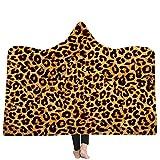Tiger Stripes Leopardenmuster Kapuzendecke Winter Warm Fleece Bett Sofa wirft Wareable Decken für Erwachsene Kind 150 x 200CM