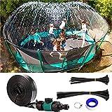 Home U Trampolin Sprinkler Outdoor Wasserspiel Trampolin Wasserpark Sprinkler Summer Water Fun Sprühwasserpark Sprayer für Kinder (Schwarz, 15M)