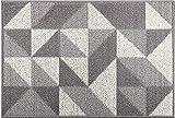 Geometry Fußmatte Grau 60cm x 90cm, rutschfeste Schmutzfangmatte Maschinenwaschbarer, Weicher Türmatte und Eingangsteppich für die Vordere Hintertür, Drinnen und Draußen, Flur (Grau)