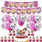 Paw Dog Patrol, Paw Dog Patrol Luftballon, Paw Patrol Banner, Cupcake Toppers für Kinder Baby Party Geburtstag Party Kuchen Dekoration Supplies