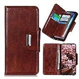 ZHIWEI Telefon Flip Fall Wallet Fall für Oppo X2 Pro, PU + TPU Leder-Flip-Abdeckung mit Kartenhalter Kickstand Magnetische Verschluss Stoßfest Schutzhülle (Color : Brown)