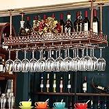 Weinregal Rustikale Deckenwein-Racks, Hängender Weinglashalter Einstellbare Höhe, Dekoration Lagerregal Eisen-Display-Regal Für Bars Restaurants Küchen, 2 Farben ( Color : Bronze , Size : 80*35cm )