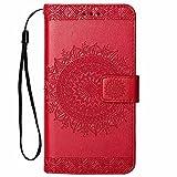 Hancda Hülle für iPhone 8 / iPhone 7, Handyhülle Tasche Hülle Flip Case Leder Schutzhülle Ledertasche Cover Handytasche Lederhülle Brieftasche Geldbörse Magnet Case für iPhone 8 / iPhone 7 - Rot