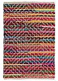 Second Nature Online Kadam Flickenteppich, mehrfarbig, gewebt mit mehrfarbigen Stoffen und geometrischem weißen Stitch-Design, Recycelter Stoff, multi, 60 x 90 cm