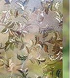 LMKJ 3D reich immergrüne gefrostete Silberfolie kein Kleber dekorative Blätter elektrostatische Haftung Privatsphäre Glasfolie A17 60x200cm