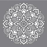 Rayher 38969000 Schablone Mandala, 30,5 x 30,5 cm, Motivgröße ca. 26,5 cm, Polyester, lasergeschnitten, biegsam, wiederverwendbar, Malschablone, Wandschab