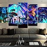 IKDBMUE Bilder Rick und Morty - Wandbild 200 x 100 cm Vlies - Leinwand Bild Format Wandbilder Wohnzimmer Wohnung Deko Kunstdrucke 5 Teilig