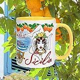 Tasse Sizilien, Sizilien, Palermo-Tasse, italienisches Souvenir, italienische Hochzeit, Mondello Strand, Italien, lustige Tasse für Mama, Papa, Oma, Geschenk von einer Enkelin oder Freundin.