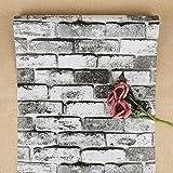 Rustikale Ziegel Tapete Weiß Grau Schwarz Tapete Selbstklebende Tapete Kontakt Papierrolle Peel and Stick Tapete Zurück Splash Tapete zum Dekorieren Küche Schlafzimmer und Wohnzimmer 44 x 500cm