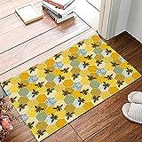 Fußmatte mit Wabenstruktur, strapazierfähig und rutschfest, mit Gummi-Rückseite, Schmutzfang-Teppiche für Terrasse, Garage, gestreift, Blumenmuster, 40 x 60 cm