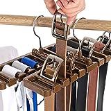 Krawattenhalter mit 10 Schlitzen, platzsparender Gürtelhalter mit Metallhaken, für Schals, Organizer aus stabilem Kunststoff, platzsparend, Kleiderschrank, Garderobe, braun, 10 Slot