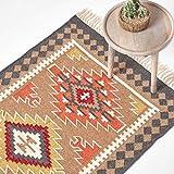 Homescapes Kelim-Teppich/Vorleger Jaipur, handgewebt aus Wolle/Baumwolle, 90 x 150 cm, bunter Wollteppich/Baumwollteppich mit geometrischem Muster und Fransen