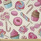 ABAKUHAUS Zuckerstange Stoff als Meterware, Leckeres Essen auf Punkte, Microfaser Stoff für Dekoratives Basteln, 1M (230x100cm), Pink, Rosa und Gelb