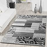 Teppich Günstig Patchwork Design Modern Wohnzimmerteppich Grau Creme, Größe:160x220