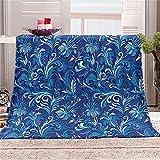 BLZQA Kuscheldecke Flanell Fleecedecke Blaues Muster Wohndecke Sofadecke Couchdecke Bettüberwurf Flauschige Weiche& Warme Sofaüberwurf Decke-130 x 150 cm