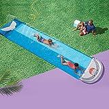 ENticerowts Freizeit-Poolrutsche, doppeltes Design, PVC, glatte Oberfläche, kompatibel mit Freunden, Rutschbrettern für Zuhause, Outdoor, Blau