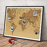 Weltkarte Erlebniskarte Landkarte Wandbild   Dekoration Deko Erde Atlas Weltkugel Landkarte   Wandposter Wanddeko XXL-Poster   aus eisenhaltiger Folie als Pinnwand zum Einrahmen