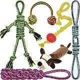 Well Love Hundespielzeug-Set, Kauspielzeug, 100 % natürliches Baumwollseil, Quietschspielzeug, Hundebälle, Hundeknochen, Plüsch-Hundespielzeug, Hundeseile, 6er-Pack