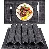Platzset, QTTO Tischset(6er Set), rutschfest Platzdeckchen, PVC Abgrifffeste Hitzebeständig Platzsets Abwischbar, Tischsets Abwaschbar für Restaurants und Küchen(30 x 45 cm, Dunkel Grau)